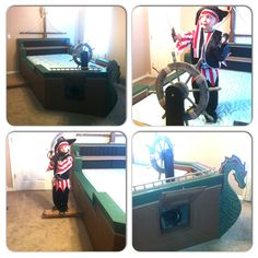 Custom made ,hand crafted pirate ship bed. Complete with steering wheel, canon, and a plank to walk.... So awesome!