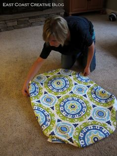 DIY Fabric Floorcloth  Materials:   Fabric: the amount depends on the size of your mat.   Rubber Mat Runner: Found at Home Depot in the flooring section.  Spray Adhesive  Water-based Polyurethane  Scissors  Duct Tape