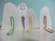 Paper Clip Stands--why haven't I thought of this before! Have needed this for ages... art work, bible stories, paper dolls, book characters, board games, clip stand, story characters, paper clip, kid