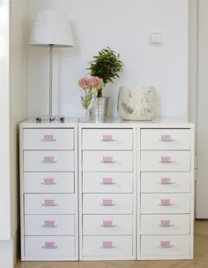 Labelled drawers- IKEA 'Helmer' drawer units