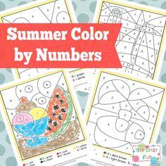Free Printable Summer Color by Numbers Worksheets #worksheets #preschool