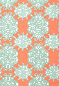 Thibaut Shangri-La - Jakarta - Fabric - Coral and Turquoise dining rooms, thibaut shangrila