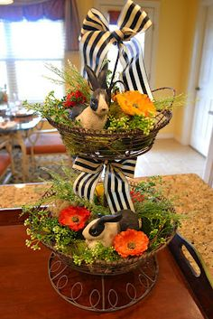 for the Spring - bunnies in a metal tiered stand