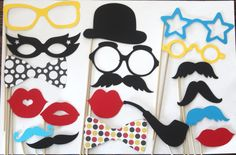 20 PhotoBooth Props, Mustache Party, Lips, Wedding Photo Booth, Props on a Stick Circus Carnival - F