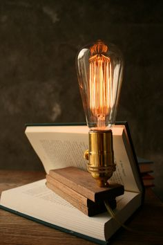Wood Lamp DIY Book Lamp Industrial Light Shabby Chic Cool Gifts For Men Lighting Edison Bulb Lamp - Acacia Wood and Marconi Filament Bulb. $89.00, via Etsy.
