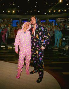 DeGeneres & Gosling in footie pajamas.