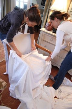 How to make a slipcover for any chair. Great tutorial.
