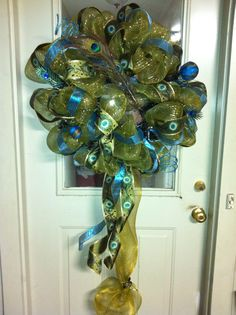 peacock mesh wreath