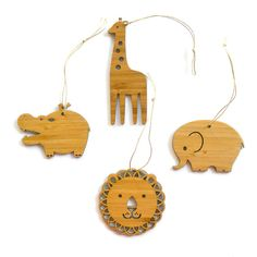 for the LITTLE ONES: bamboo safari animal ornaments from Decoylab $25