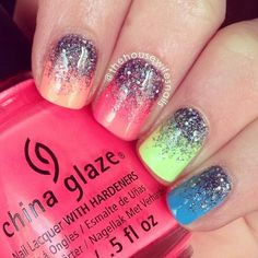 Glitter nails with bright spring colors