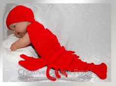 Lobster Outfit For Newborn Baby  Hat and by CreativeDesignProps, $35.00