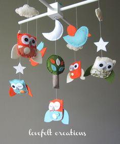Owl Baby Mobile - Mobile Owls - Nursery Mobile.