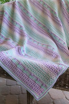 Spring Green and Lavender Baby/Toddler Blanket with tiny flowers.
