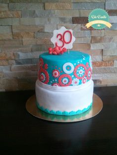 30th birthday cake for women :) colorful, fondant cake