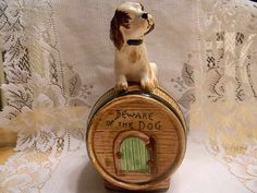 Vintage Ceramic Dog on Top of Barrel Doghouse  by JanasTreasures, $19.99
