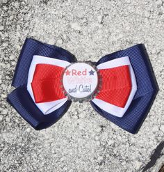 Patriotic Bow Memorial Day Bow Fourth of July Bow Red by bowsforme, $7.00