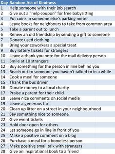 random act of kindness ideas