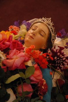 statue of Mary on her deathbed in Patamban, Mexico