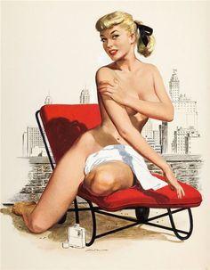 Sunbathing calendar girl, 1953, vintag pinup, pinup girl, rooftop, pinup art, ren wick, vintage pins, tan