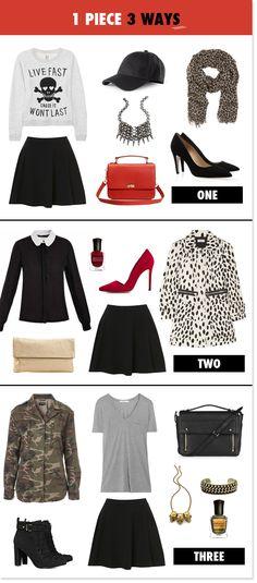 1 Piece (black a-line skirt) 3 Ways
