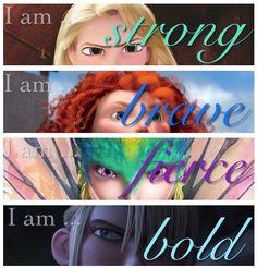 The girls: Rapunzel, Merida, Toothiana, and Astrid. Modern disney