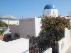 Geraniums and Church, Santorini