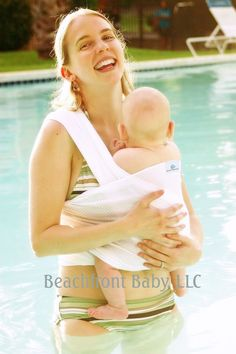 Beachfront Baby Wrap Carrier- water babywearing the beach, pool, water park or in the shower- WHITE WAVE via Etsy