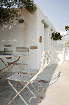 . vintage chairs, beach homes, outdoor living, greece, white, roof terraces, summer holidays, outdoor spaces, summer houses