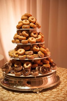 Cool way to present donuts at a sweet table