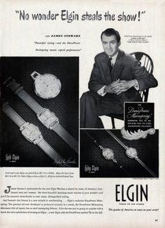 Jimmy Stewart for Elgin watches elgin watch, watch ad, elgin illinoi, jimmi stewart, jame stewart, vintag watch, james stewart