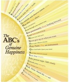 ABC of Genuine Happiness, so many ways for everyone.