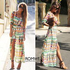 Tie-dye Floral Maxi Dress
