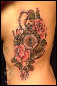 Pocketwatch #tattoo #rosetattoo #pocketwatch #neotraditional #onedge #basia #barbaramunster neotraditional tattoo