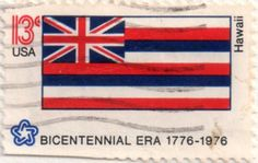 US postage stamp, 13 cents.  Hawaii.  Issued 1976.  Scott catalog 1682.