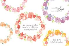 Watercolor Clip Art, Floral Frame by swiejko on Creative Market