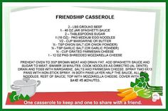 Mommy's Kitchen: Friendship Casserole {Share Dinner with a Friend}
