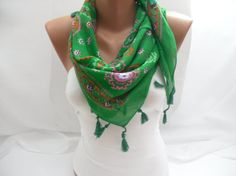 Women Green Coloured Cotton Scarf  Headband  Cowl with by DIDUCI, $15.00