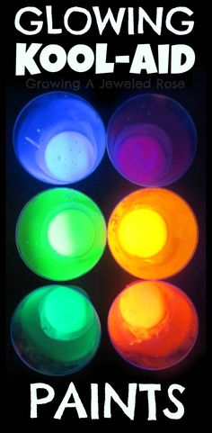 MAGIC glowing Kool-aid paints!  These Kool-aid paints don't just glow- they ERUPT too!