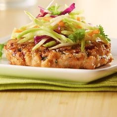 Teriyaki Salmon Cake with Asian Slaw using Saute Express Saute Starter. - Teriyaki and fresh salmon make a perfect pair in these quick and simple salmon cakes.
