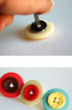 How to make cute button brads ~ would make great amigurumi eyes. Here's the link: http://www.papercraftsconnection.com/blog/2011/11/groovin-with-the-go-to-gals-the-buttons-meet-the-brads/