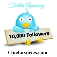 Twitter Giveaway! Win a $500 goodie box when we reach 10K Followers. Details: http://www.chicluxuries.com/2012/06/chic-luxuries-10k-twitter-giveaway.html
