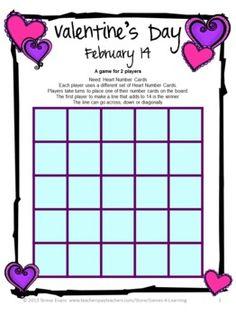 FREEBIE - Valentine's Day Math Game by Games 4 Learning is a printable Valentine's Day Math Board Game.