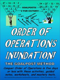 """Apply PEMDAS correctly, make your goalposts as you evaluate numerical expressions, draw your """"V"""" for """"victory"""", raise your hands in the air, and conquer order of operations once and for all. This product contains a series of activities, guided notes pages, worksheets, and mastery tests, culminating in an exciting competition, that generate enthusiasm while teacher students to evaluate expressions in the correct order. Works well in any late elementary or middle school math class."""