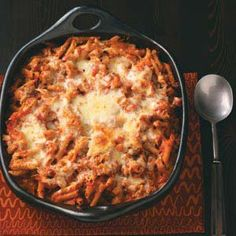 Taste of Home Sausage Penne Bake...having this for dinner tonight, and the house smells SOOOO GOOOOD!!!