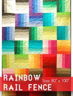 Rainbow Rail Fence Quilt Kit