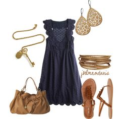 Outfit the dress, summer outfits, polyvore summer dresses, navi gold, summer nights, summertime, the navy, blues, belts