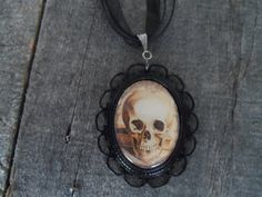 Gothic Cameo Chocker Necklace. Happy Skull on by toniatwoodland, $13.95