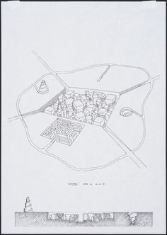 Leon Krier - Labyrinth City, project, Aerial perspective and section