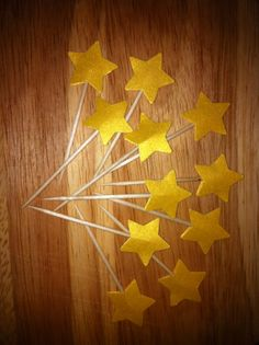 24 cupcake decoration topper flag star gold by Alexashop on Etsy, $10.00