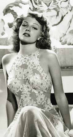 sublimely gorgeous image of Rita Hayworth in daring see-through laced dress (1918 Oct17 - 1987 May14, d. @68 from Alzheimer's) American dancer / film actress in 61 films over 37 years, in American Film Institute's 100 Greatest Stars of All Time . Gorgeous brunette, 1940s 1950s  sex symbol